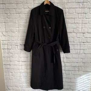 LONDON FOG Black Double Breasted Long Trench Coat